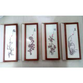 New 4 Seasons Flowers Paper Cutting in Frame RP $20, Org $48