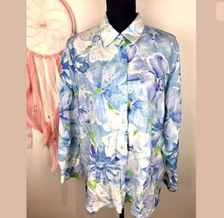 Liz Claiborne sz L 100% Linen blue floral women top shirt tunic button down cute