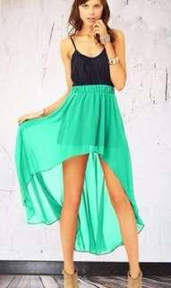 High low neon green skirt