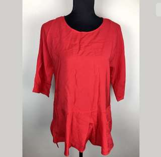 COS sz S/M red women peplum top shirt blouse smart casual sexy loose fit