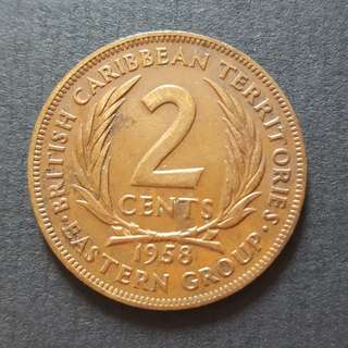 British Carribean Territories 2 cents 1958 Copper Coin