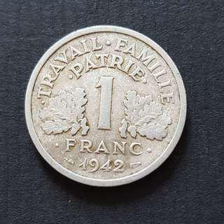 France WWII German Occupation 1942 Aluminium 1 Franc Coin