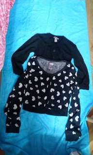 2pcs - knit set - cute HM TOP & hearts Cardi