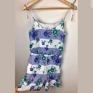 MARCS sz 4 white purple stripe floral women short jumpsuit playsuit beach cute
