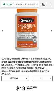 Swisse Children's Ultivite multivitamin anak tambahan vitamin suplemen supplement