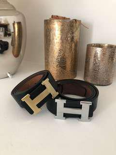 Hermes H belt Silver and gold