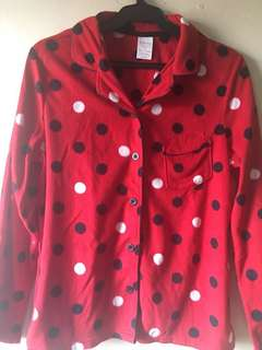 Sonoma Sleepwear Red Polkadots Top Only, Fits S-M