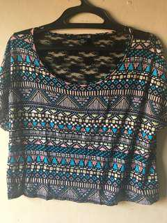 Forever 21 Aztec Print Crop Top with Lace Back (M)
