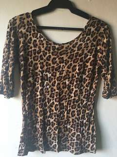 Leopard Print Low Back 3/4 Sleeves Top (M)