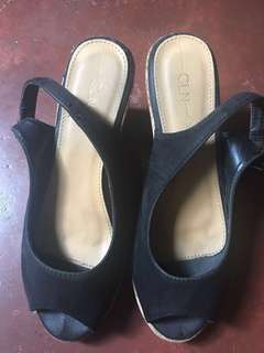 CLN Open Toe Sling Back Wedge Heels, Size 8