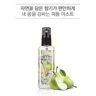 (買6支包順豐) 韓國新貨 (EXP.:2020) - Missha All Over Perfume Mist 香薰噴霧 Pear & Rose 梨子與玫瑰 120ml