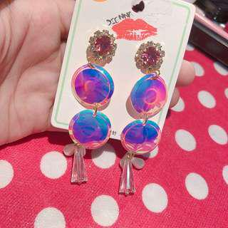 🚚 粉色調閃亮耳環