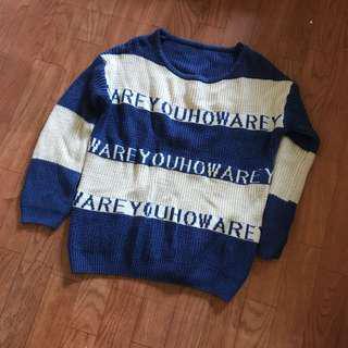 🚚 針織條紋字母上衣