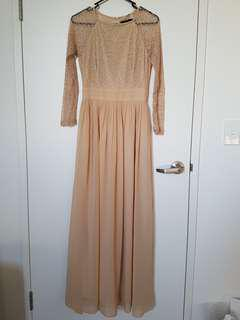 BNWT Nude Lace & Chiffon Dress / Gown