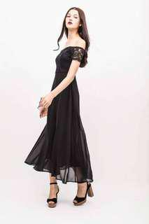 OSMOSE Swirl black off shoulder maxi dress