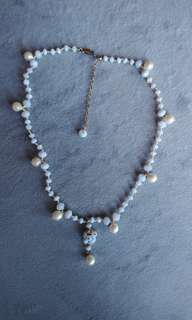 Light lavender stone fresh pearls necklace