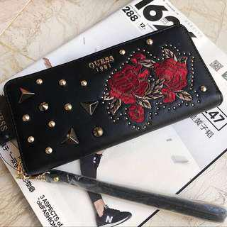 PO: Lady guess woman black red rose long wallet clutch purse