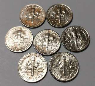美金 ONE DIME 7個