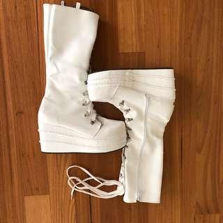 White Festival Calf Boots