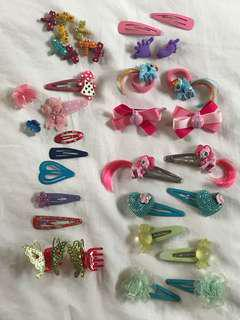 Hair Clips, ties and slides