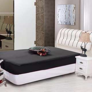 Black Polyester Queen Size Fitted Bed Sheet