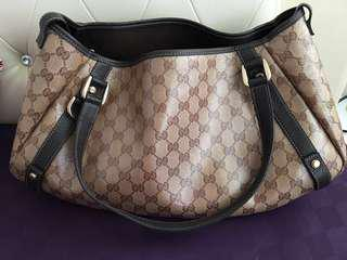 Authentic Gucci GG Crystal Abbey Shoulder Tote Bag