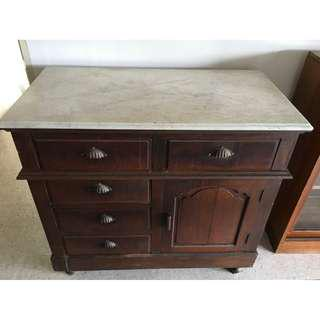 Antique Peranakan Marble-Top Side Cabinet with 5 Drawers