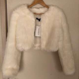 BNWT Faux Fur Cropped Jacket