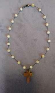 Fresh pearl cross necklace - CL - pretty