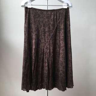 Brown Printed Skirt