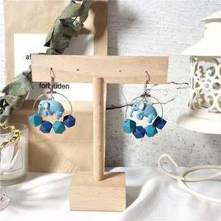 🚚 降價55👼🏻✨藍色大象木質耳環