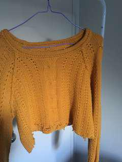 Yellow knit crop small/8