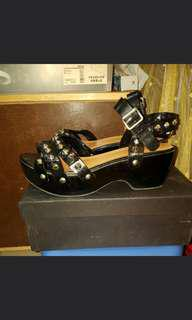 SONIA by Sonia Rykiel 木底木屐厚底鍋釘黑色超型涼鞋 sandals size 39 (damage)