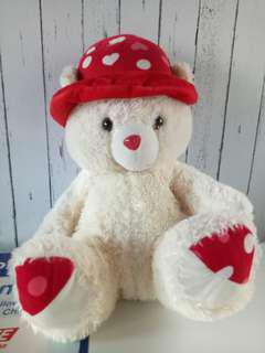 Cream Bear with Red Hat