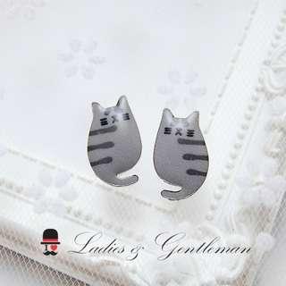 可改夾式<Ladies & gentleman>卡通灰色虎斑貓貓穿式耳環