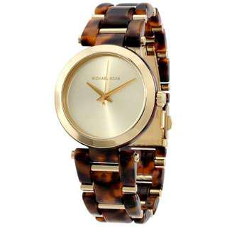 DELRAY GOLD DIAL TORTOISE ACETATE LADIES WATCH MK4314