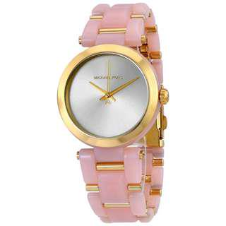 DELRAY GOLD-TONE DIAL PINK ACETATE LADIES WATCH MK4316