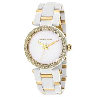 DELRAY PAVE WHITE ACETATE AND GOLD-TONE LADIES WATCH MK4315