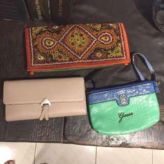 🚚 包包3件組guess 包印度手工包,真皮皮夾
