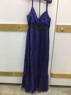 Violet silk dress with embellishments