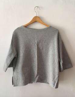 🚚 Uniqlo 女款七分袖上衣 灰 XL L