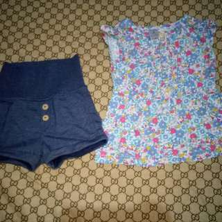Take Authentic Carter's Shorts&Carter's Blouse(Size 9-12M)