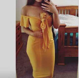 Yellow tie front dress