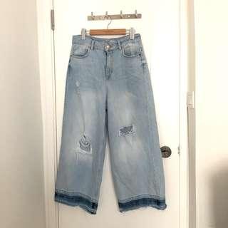 Zara 洗水 寬腳 牛仔褲