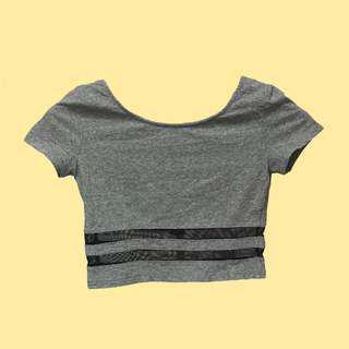 H&M 灰色短版上衣