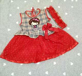 Dress anak / rok terusan merah