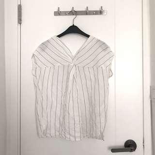 Giordano ladies 條紋 白色 麻質 上衣 top