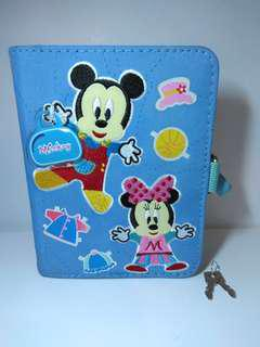 米奇老鼠繡花立體有鎖記事簿Mickey Mouse organozer with lock schedule book