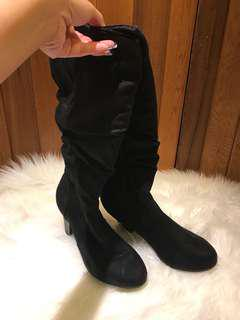 Suede thigh high boots rubber sole size  9