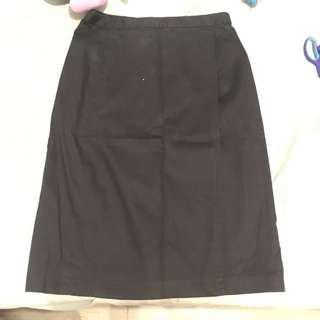Overlap Wraparound Office Skirt Black